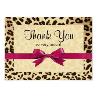 Leopard Print Bright Pink Bow Thank You Note 11 Cm X 16 Cm Invitation Card