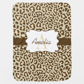 Leopard Print Brown Tan Peach Swaddle Blanket Receiving Blankets