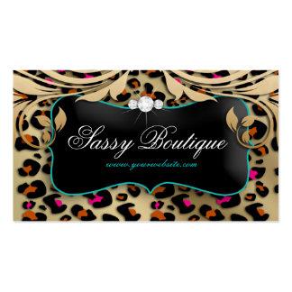 Leopard Print Business Card Beige Swirls Jewelry B