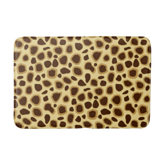 Leopard Print, Chocolate Brown and Camel Tan Bath Mat