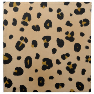 Leopard Print Cloth Dinner Napkins - Set Of 4
