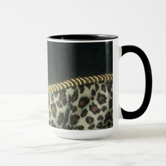 leopard print coffee cup with gold trim