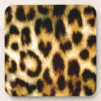 Leopard print beverage coasters