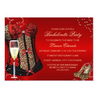 Leopard Print Corset Red Bachelorette Party Invite