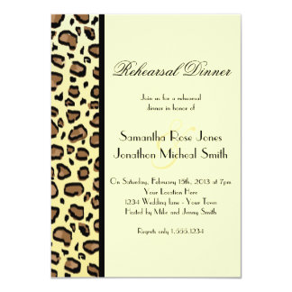 Leopard Print Custom Rehearsal Dinner 11 Cm X 16 Cm Invitation Card