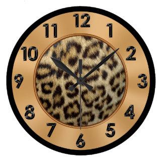Leopard Print Decor Gold, Black and Tan Colors Large Clock