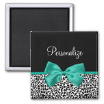 Leopard Print Emerald Green Ribbon Bow Chic Name