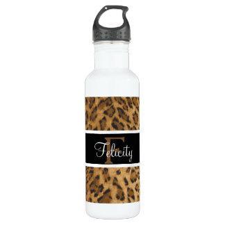 Leopard Print F monogram initials Water Bottle
