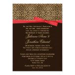 Leopard Print FAUX Red Ribbon Post Wedding 14 Cm X 19 Cm Invitation Card