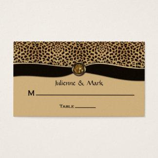 Leopard Print FAUX Ribbon Jewel Place Cards