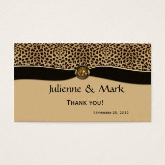 Leopard Print FAUX Ribbon Jewel Wedding Favor Business Card