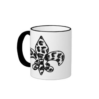 Leopard Print Fleur De Lis Ringer Coffee Mug