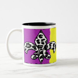 Leopard Print Fleur De Lis Two-Tone Coffee Mug