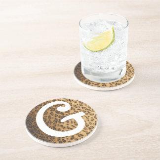 Leopard Print G monogram initials Sandstone Coaster