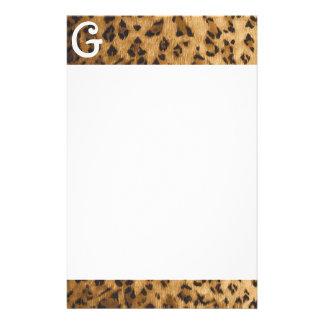 Leopard Print G monogram initials Stationery