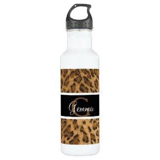 Leopard Print G monogram initials Water Bottle
