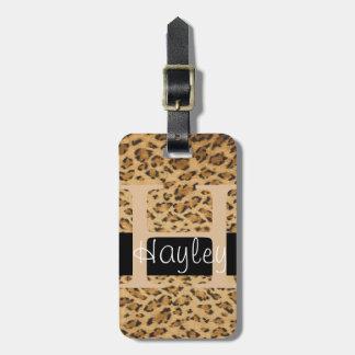 Leopard Print H monogram initials Luggage Tag