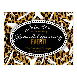 Leopard Print Hair Salon Grand Opening Postcard