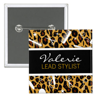 Leopard Print Hair Salon Name Badge Buttons