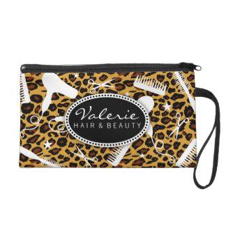 Leopard Print Hair Salon Tools Wristlet Purses