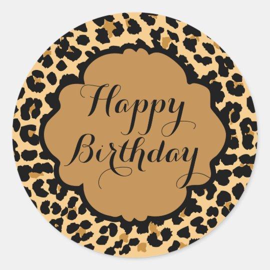 leopard print happy birthday stickers zazzle com au