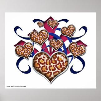 Leopard Print Hearts Pink & Blue Burst Poster