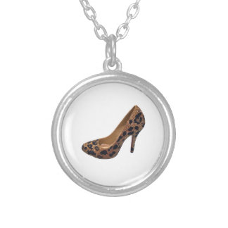 Leopard Print High Heel Shoe Pump Necklaces