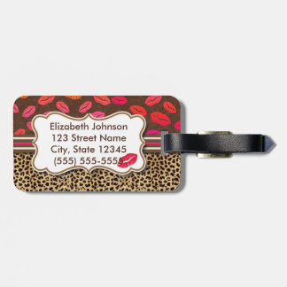 Leopard Print Kisses Personalized Address Luggage Tag