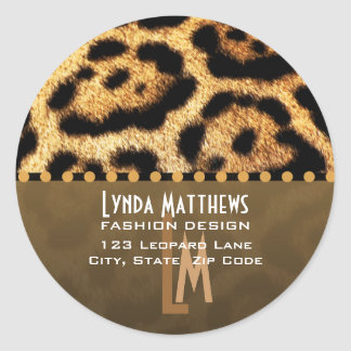 Leopard Print Monogram Address Labels Classic Round Sticker