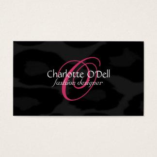 leopard print monogram business card