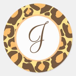 Leopard Print Monogrammed Classic Round Sticker