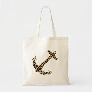Leopard Print Nautical Anchor Tote Bag