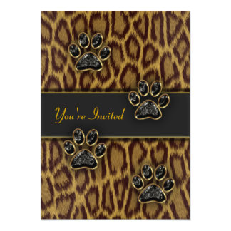 """Leopard Print Party Template 5"""" X 7"""" Invitation Card"""