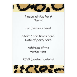 Leopard Print Pattern, Brown and Black. 17 Cm X 22 Cm Invitation Card