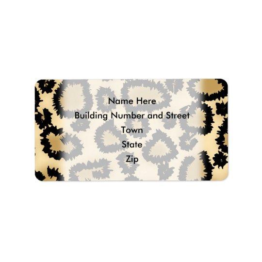 Leopard Print Pattern, Brown and Black. Address Label