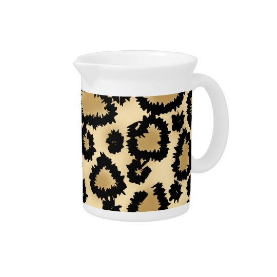 Leopard Print Pattern, Brown and Black. Beverage Pitchers