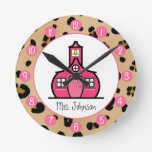 Leopard Print Personalised Clock For Teachers