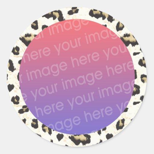 leopard print photo frame border sticker