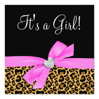 Leopard Print Pink Bow Diamond Girl Baby Shower 5.25x5.25 Square Paper Invitation Card