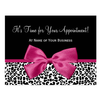 Leopard Print Pink Bow Salon Appointment Reminder Postcard