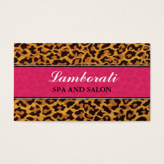 Leopard Print Pink Fashion Designer Elegant Modern Business Card
