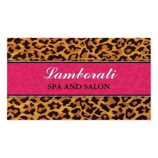 Leopard Print Pink Fashion Designer Elegant Modern Business Card