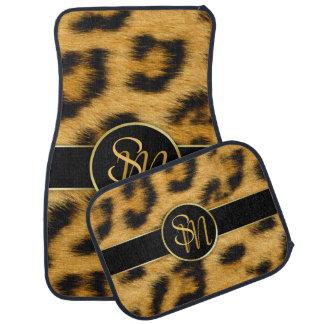 Leopard Print Precious Gold Initials Car Floor Mat