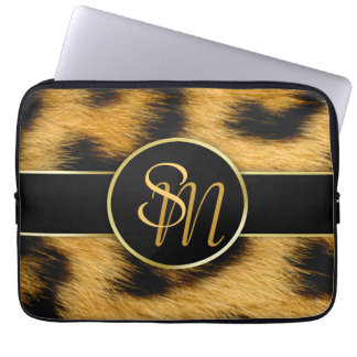 Leopard Print Precious Gold Initials Laptop Sleeve