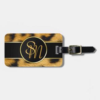 Leopard Print Precious Gold Initials - Luggage Tag