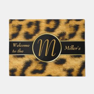 Leopard Print Precious Gold Monogram - Doormat