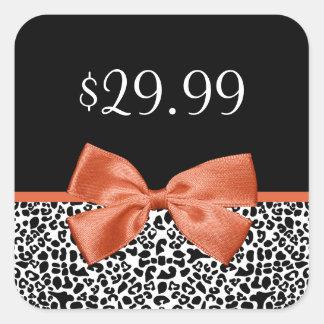 Leopard Print Price Tag Trendy Burnt Orange Ribbon