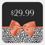 Leopard Print Price Tag Trendy Burnt Orange Ribbon Square Stickers