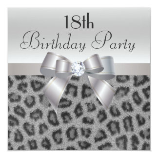 Leopard Print, Printed Bow & Diamond 18th Birthday 13 Cm X 13 Cm Square Invitation Card