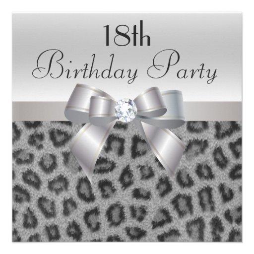 Leopard Print, Printed Bow & Diamond 18th Birthday Custom Invite